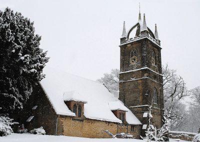All Hallows Church in snow